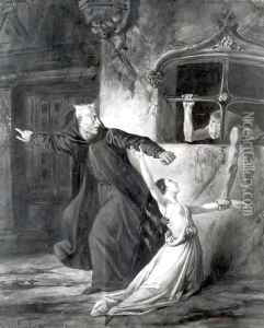 http://www.niceartgallery.com/Louis-Boulanger/Sachette,-Esmeralda-and-Claude-Frollo,-1831.html