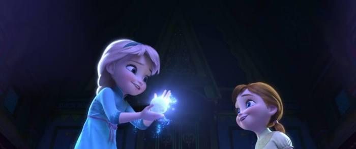 Young Elsa and Anna magic